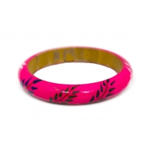 Wooden Bangle- Round form - Lacque /Flower Design - 13mm