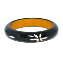 Wooden Bangle- Round form - Lacque/ Carving - 13mm