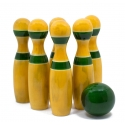 Pins & Sphere - Sixpin Bowling set made of soft wood by Channapatna Toys - Best indoor games for kids & adults