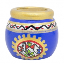 Tiny Wooden Pot - Traditional Pattern